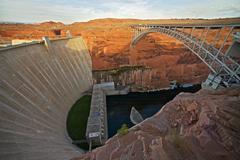 glen canyon dam and bridge in page, arizona, united states.  arch dam on the - stock photo