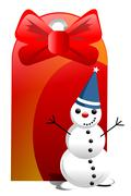 Funny snowman with huge red price tag. illustration isolated on white. Stock Illustration