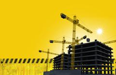 Construction site with cranes yellow abstract construction background with co Stock Illustration