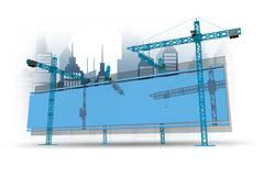 Construction site with billboard and city skyline concept illustration. blue Stock Illustration