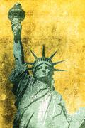 statue of liberty grunge background illustration. - stock illustration