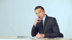 Business SE 009 young businessman listens attentively to his companion then tell Stock Footage