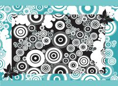 abstract circles backdrop art illustration. blue and black colors. - stock illustration