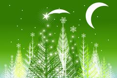 Green cartoon forest abstract illustration with moon and stars. Stock Illustration