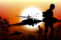 Soldiers in action. marine soldiers and helicopters. sunset silhouette backgr Piirros