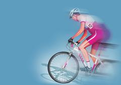 speeding biker illustration. biker in motion on solid blue background. - stock illustration