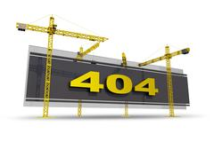Error 404 concept illustration with construction cranes. 3d model isolated on Stock Illustration