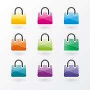 Brightly colored shopping bags icons Piirros