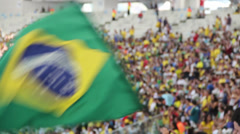 1306024 - Maracana Stadium, Rio de Janeiro, telephoto crowd with brazilian flag Stock Footage