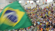 Stock Video Footage of 1306024 - Maracana Stadium, Rio de Janeiro, telephoto crowd with brazilian flag