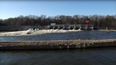 Hydro Dam Fox River WS - Pan Stock Footage