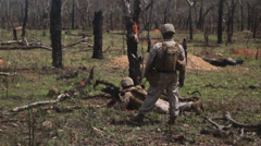 US Army soldier trains with his weapon   (courtesy DOD) - stock footage