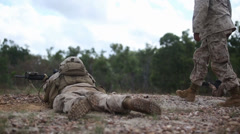 US Army soldiers aims their weapons at joint training exercise     (courtesy - stock footage