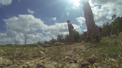 low angle view of army instructors and soldier in firing position on the ground - stock footage