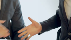 Business SE 046 close-up of shaking hands seated companions Stock Footage