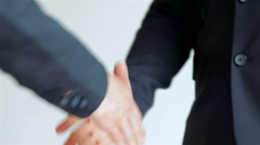 business SE 047 close-up of a handshake standing companions - stock footage