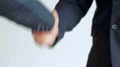 Business SE 048 close-up of a handshake standing companions Stock Footage