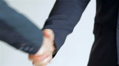 business SE 049 close-up of a handshake standing companions - stock footage