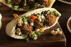 healthy vegetarian falafel pita - stock photo