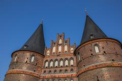 top of the holstein gate in lubeck - stock photo