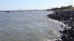1404050 - Wide view of Recife, Pernambuco from Olinda dock port viewpoint Stock Footage