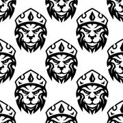 seamless pattern of a crowned royal lion - stock illustration