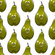 seamless pattern of healthy fresh green pears - stock illustration