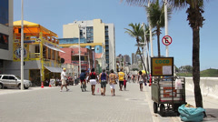 1404075 - Farol da Barra, Salvador, sidewalk, beachfront at Oceanic Avenue Stock Footage