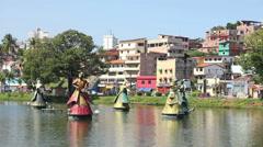 1404077 - Arena Fonte Nova, Salvador, Dique do Tororo, Orixas statues Stock Footage