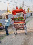 Ricksha driver at Kumbh Mela Stock Photos