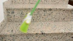Close up of cleaner the stairs Stock Footage