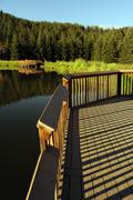 scenic lake wood deck - viewpoint wood deck. colorado landscape. - stock photo
