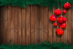 Holiday season wooden background with christmas ornaments. Stock Illustration