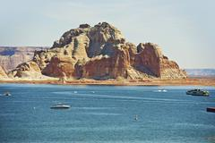 lake powell reservoir on the colorado river in northern arizona state, united - stock photo