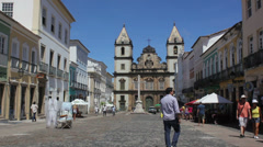 1404095 - Anchieta Plaza, Sao Francisco Church, Salvador, people walking Stock Footage