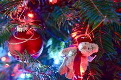 Christmas tree ornaments closeup. seasonal concept Stock Photos