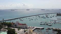 1404099 - Todos os Santos Bay, Salvador, pier, ships and Navy building Stock Footage