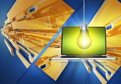 Abstract computer concept with laptop computer, electric bulb and abstract ba Stock Illustration