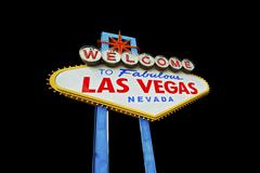 Las vegas famous strip entrance sign isolated on black background. Stock Photos