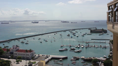 1404101 - Todos os Santos Bay, Salvador, pier, ships and Navy building Stock Footage