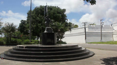 1404158 - Fortaleza, Ceara, downtown, avenue, army soldier statue Stock Footage