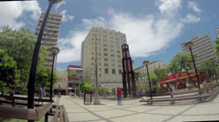 1404162 - Fortaleza, Ceara, downtown, big watch, central plaza, wide view Stock Footage
