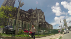 1404163 - Fortaleza, Ceara, downtown, church, wide view Stock Footage