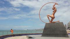 1404171 - Fortaleza, Ceara, Iracema Beach, beach, Iracema Guardia statue Stock Footage