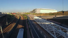 1404193 - Arena Sao Paulo, view of stadium, avenue, subway 04-29-2014 Stock Footage