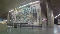 1405198 - Sao Paulo subway, artistic panel of Central Station, 05-05-2014 Stock Footage
