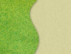 Green grass curve on sand background Stock Photos