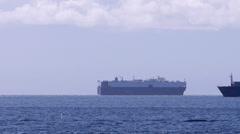 Container Ship Passes Car Carrier in Juan de Fuca Strait Time Lapse Stock Footage