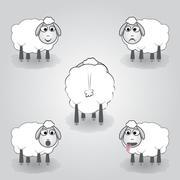 cartoon illustration of sheep - stock illustration