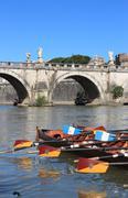 regatta con tiber river - stock photo